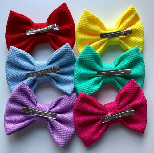 """5/"""" with clip Fabric Hair Bows"""