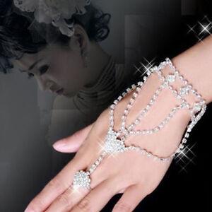 Elegant-Chic-Jewelry-Rhinestone-Hand-Bangle-Chain-Link-Finger-Ring-Bracelet