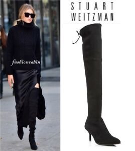 Black 10 Knee Maat Stuart The Weitzman Tiemodel Over Boot BrxdCoeW