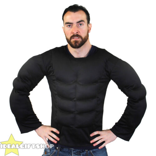 BLACK FAKE MUSCLE CHEST PADDED SHIRT TOP FANCY DRESS SUPERHERO BODYBUILDER