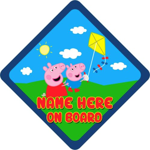 Personalised Baby//Child On Board Car Sign Kite Piggy Blue