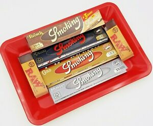 Smoking Brand Gold Brown Silver Deluxe Rolling Paper Tips Roach Tray Gift Set