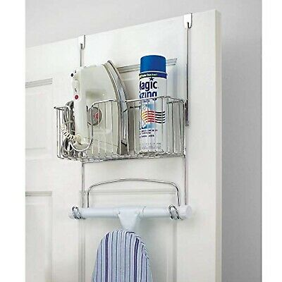 Ironing Board Holder Over Door Storage Wall Mounted Chrome Clothes Iron Basket Ebay