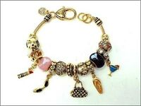 Gold Tone Shopping Theme Charm Bracelet With Multi-color Beads