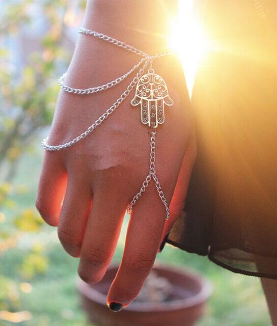 Lucky Bracelet Silver Hamsa Fatima Finger Ring Bangle Hand Harness Slave Chain