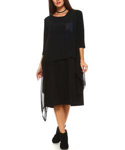 Robe Noire Taille 24 Lin Coton Mélangé 2pcs Multicouche Femme-afficher Le Titre D'origine