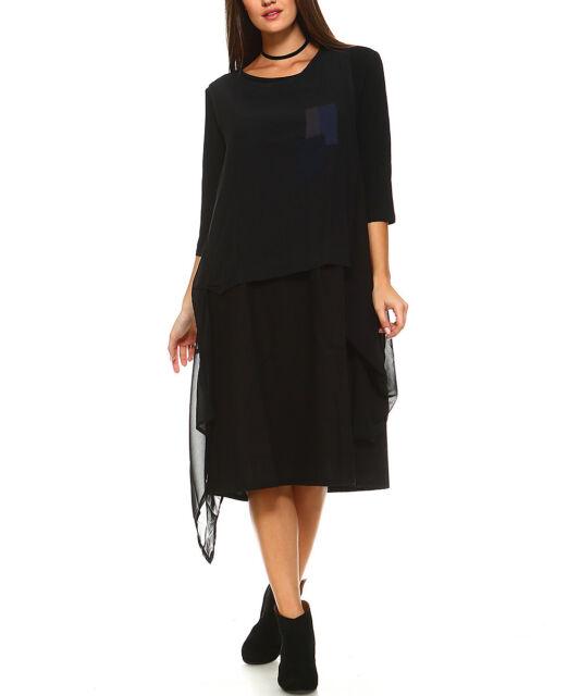 1014ede6473 Black Shift Dress Plus Size 24 Linen Cotton Blend 2pcs Layered for ...