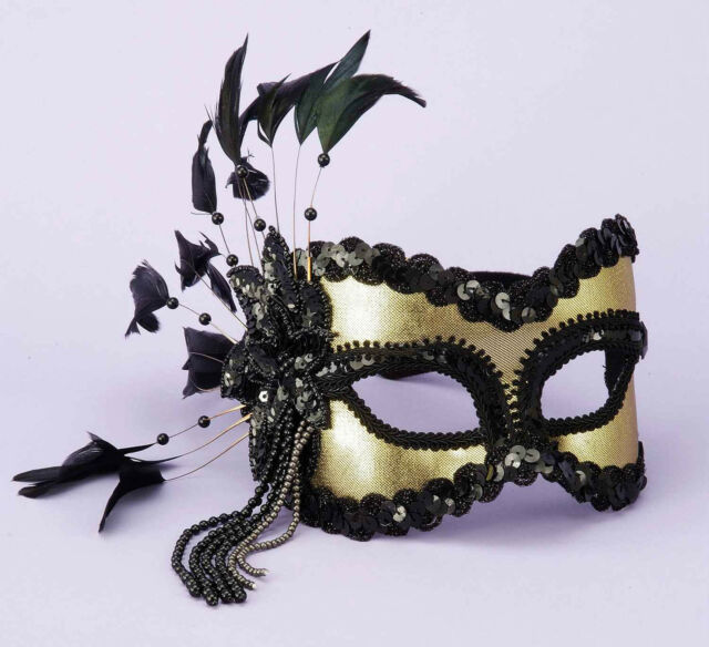 Black Gold Mardi Gras Masquerade Venetian Feather Costume  Mask