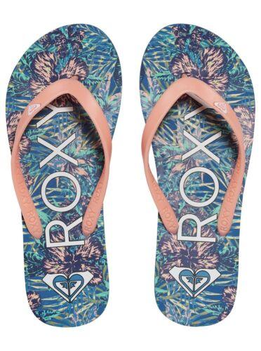 ROXY WOMENS FLIP FLOPS.NEW TAHITI BLUE//PEACH BEACH THONGS SANDALS 7S//132//BSF