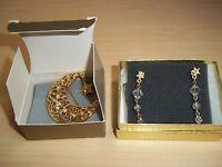 Avon Heaven Splendor Pin Brooch With Pierced Star Crystal Earrings
