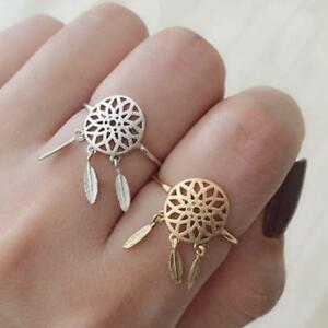 Vintage-Pendant-Feather-Silver-Gold-Hollow-Dreamcatcher-Ring