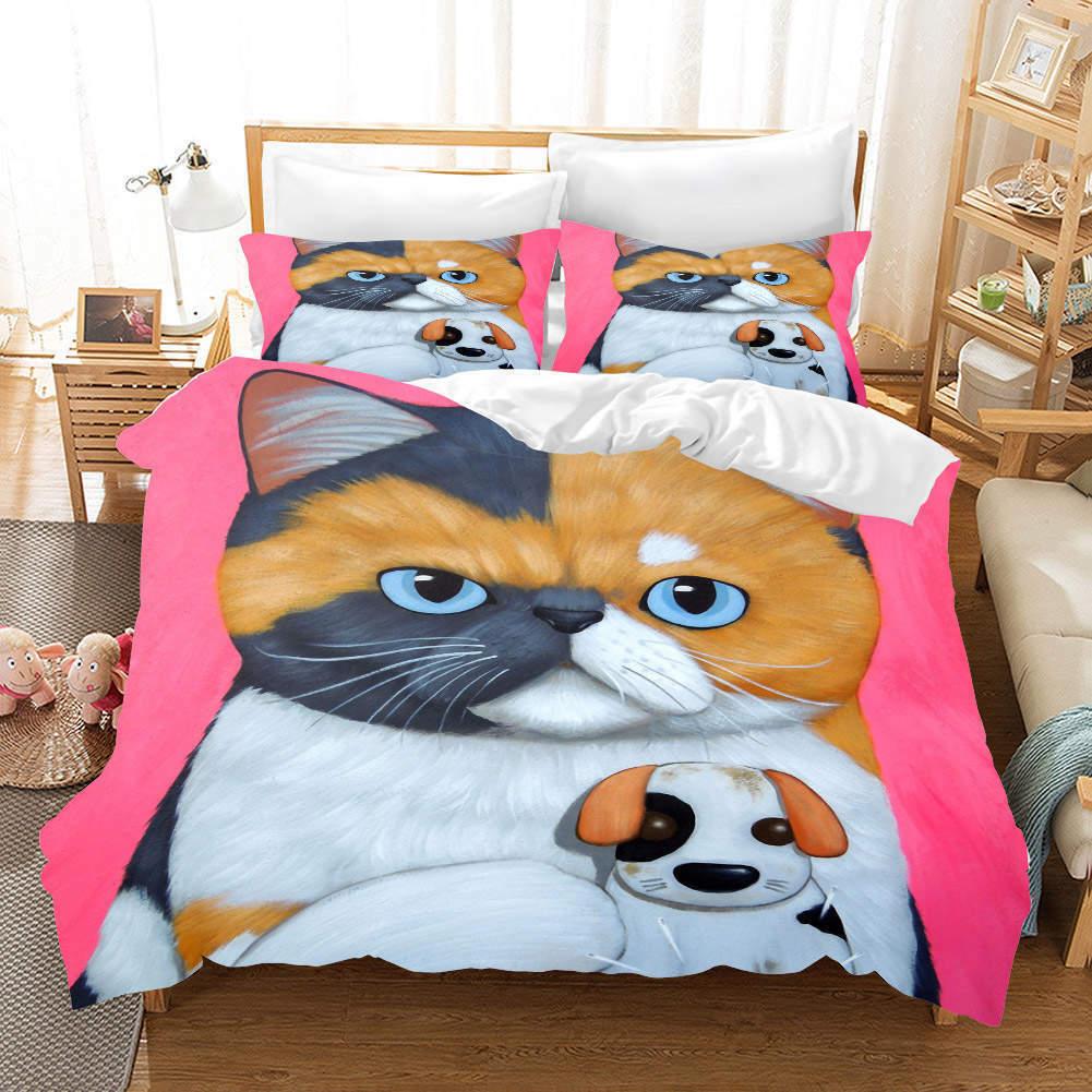Cat Hund Gelb 3D Druckening Duvet Quilt Will Startseites Pillow Case Bettding Sets