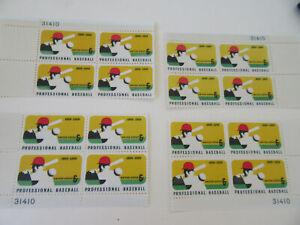 Professional Baseball 6c Stamp Sc#1381 Four Corner PB's of 4 Stamps MNH (#8)