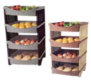 Image Is Loading 4 Tier Plastic Rattan Vegetable Fruit Rack Basket