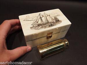Vintage Antique Style Sail Ship Etched Bone & Wood Trinket Box w Telescope