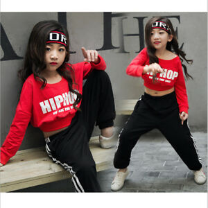 227148986fab Image is loading Girls-Red-Sequin-Hip-Hop-Dance-Costumes-Ballroom-