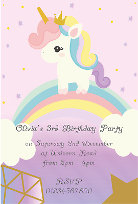 10 UNICORN PERSONALISED BIRTHDAY PARTY INVITATIONS NEW 2018 DESIGNS