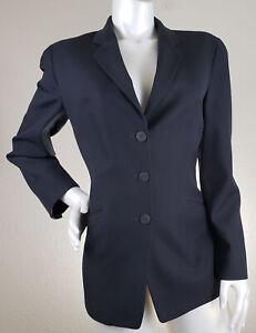 Giorgio-Armani-Womens-Vintage-V-Neck-Blazer-Black-Wool-Silk-Size-46-US-10