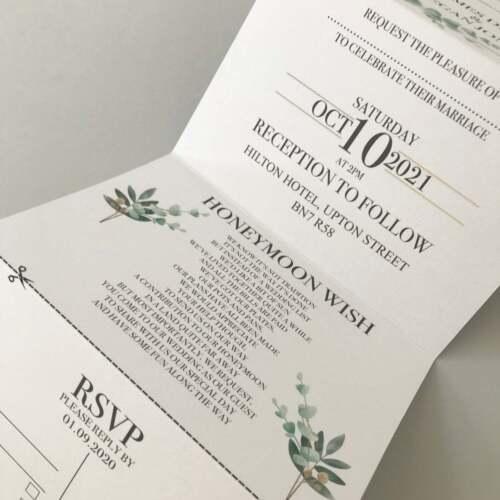 vert feuillage mariage Concertina Invitation Invite Géométrique doré