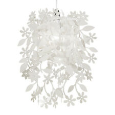 Minisun white floral flowers and leaves dropping chandelier white shabby chic floral ceiling pendant light lamp shade chandelier lampshade aloadofball Images