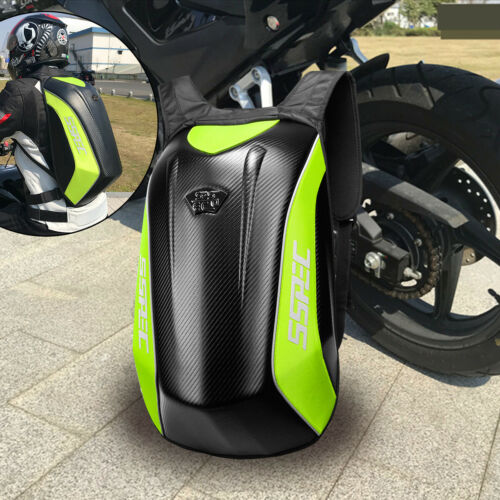 SSPEC Carbon Fiber Motorcycle Backpack Racing Riding Hard Shell Bag With Cover