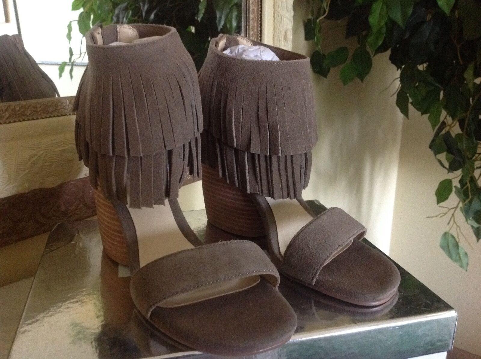Matiko Desiree Damenschuhe Taupe Suede Fringe Ankle Wedge 155 Heel Sandale EU37 MSRP 155 Wedge a8ac88