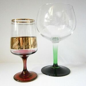 Fab funky retro vintage coloured stem glassware wine glass - Funky champagne flutes ...