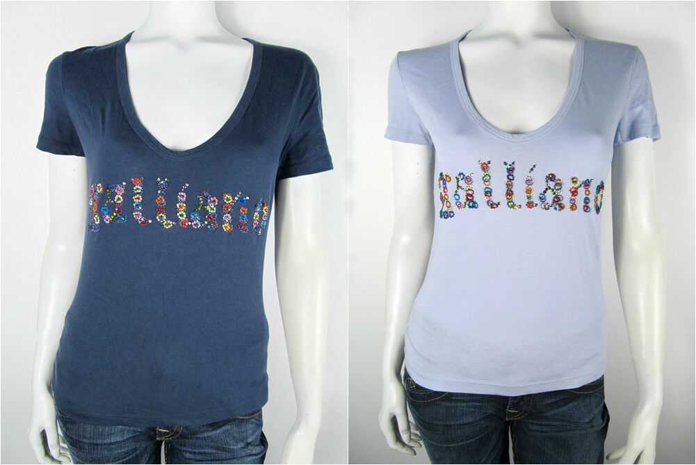John Galliano T-Shirt Tee Jersey Top XR67B1 Pailetten Neu S M L