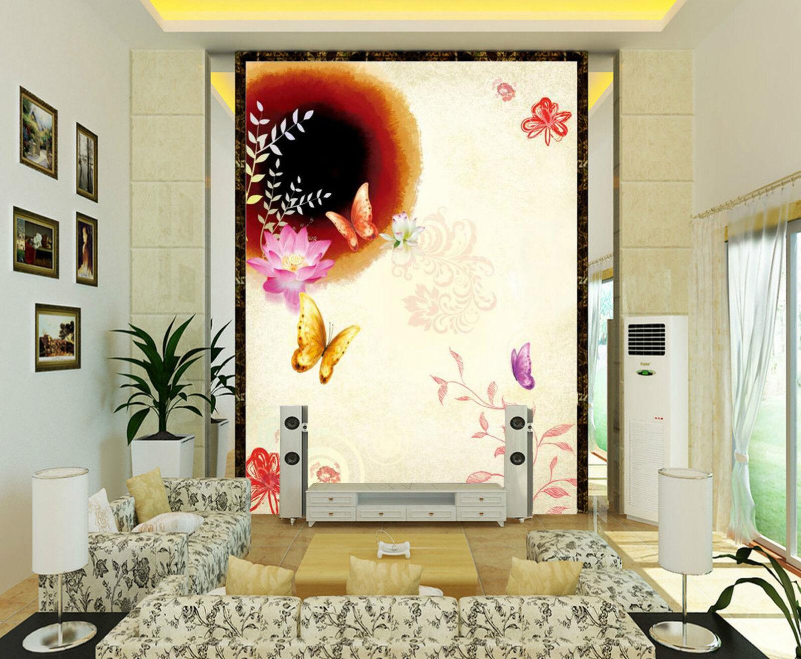 3D farfalla 123 Parete Murale Foto Carta da parati immagine sfondo muro stampa