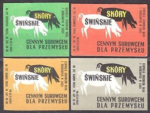 POLAND-1969-Matchbox-Label-Cat-Z-959-set-Pigskin-a-valuable-raw-material
