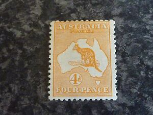 AUSTRALIA-POSTAGE-STAMP-SG6-4D-DIE-II-ORANGE-1913-UN-MOUNTED-MINT