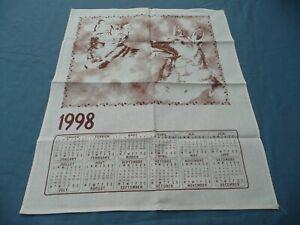 1 Torchon Ancien Vintage En Coton Calendrier 1998 à Décors De Chat Et Chien Prix RéDuctions