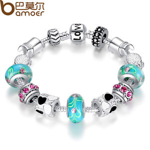 Xmas-LOVE-925-Silver-Charms-P-Bracelet-European-Blue-Murano-Beads-DIY-For-Women
