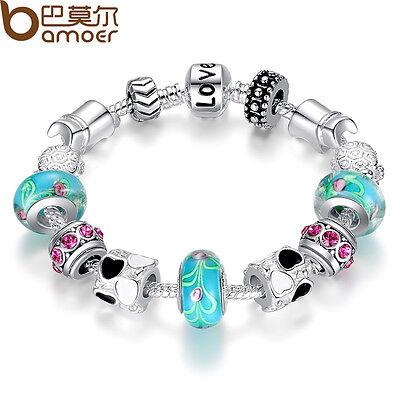 Xmas LOVE 925 Silver Charms P Bracelet European Blue Murano Beads DIY For Women