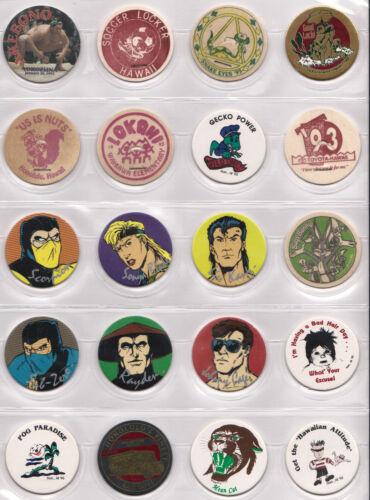 20 Vintage Unused Hawaii Milk Caps POGS Lot Mortal Kombat Bugs Bunny Akebono