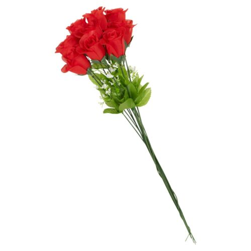 Artificial Long Stem Red Roses Wedding Bride Bouquet Party Decor Fake Flowers