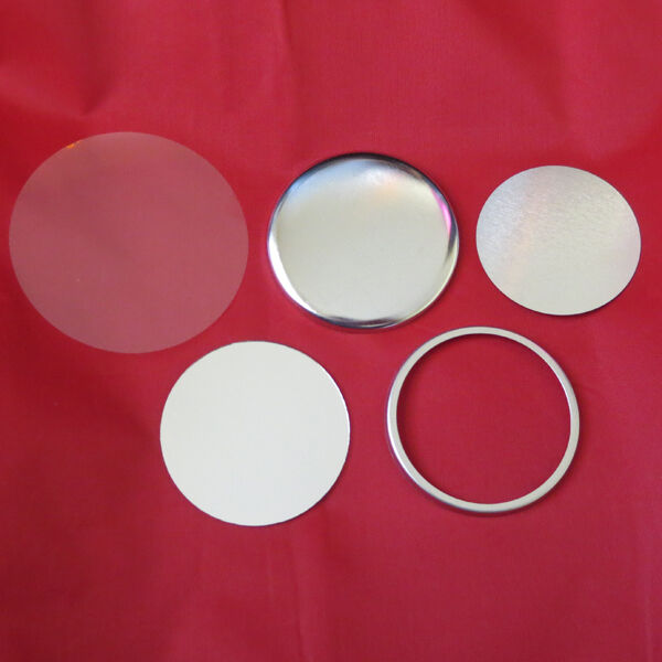 """2-1//4/"""" 2.25 inch Tecre Complete Pinned back buttons 500 pcs and Mirrors 250pcs"""