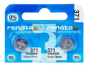 2-x-Renata-371-Pila-Batteria-Orologio-Mercury-Free-Silver-Oxide-SR920SW-1-55V