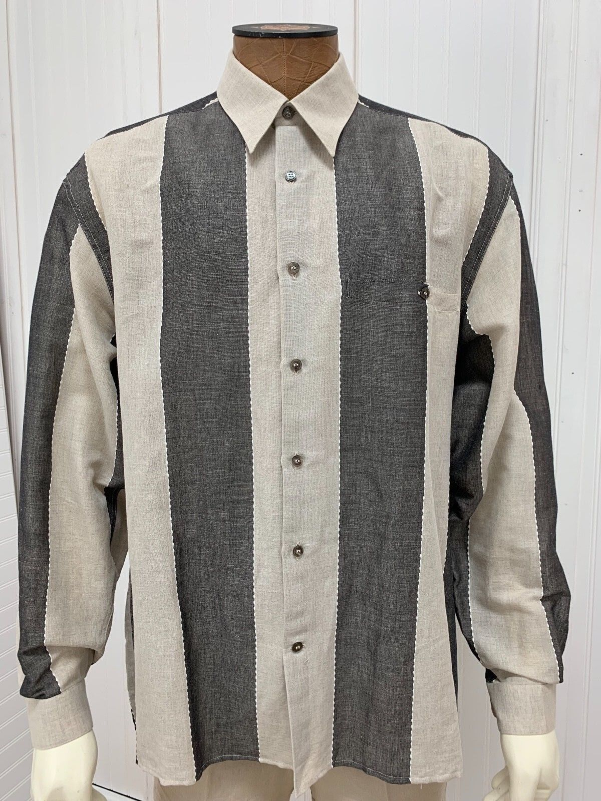 Lazo Large Linen Shirt Tan Off White Brown Striped Mens long sleeve button front