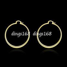 Women's 18K Gold Filled 59mm X-Large Light Weight Round Flat Hoop Earrings H815G