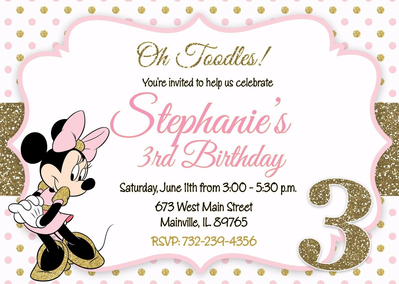 Minnie Mouse Birthday Party Invitation 63154a