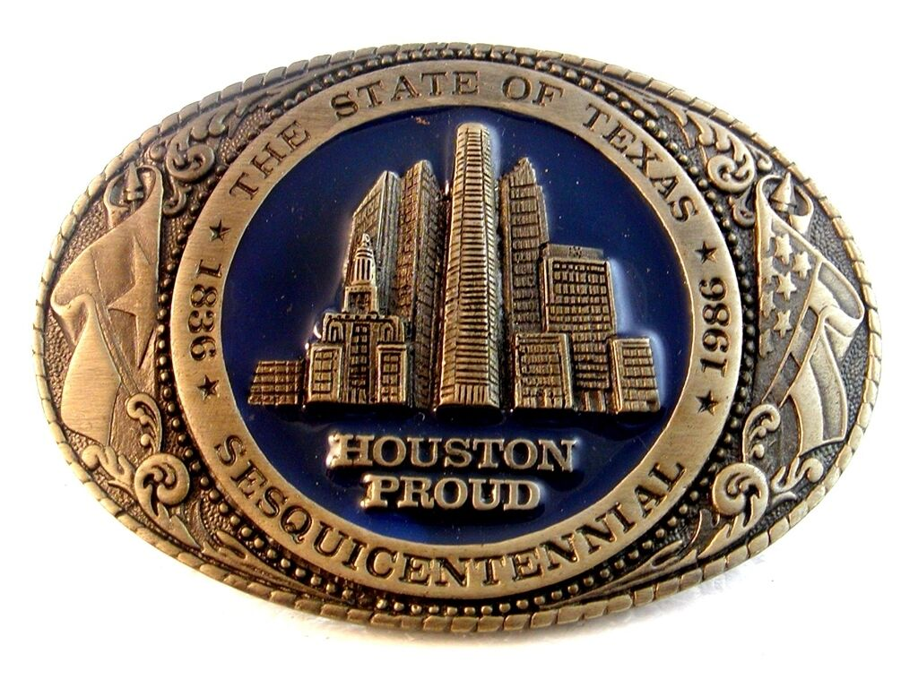 1986 Travis Collectors Society Texas Sesqicentennial Houston Proud Belt Buckle