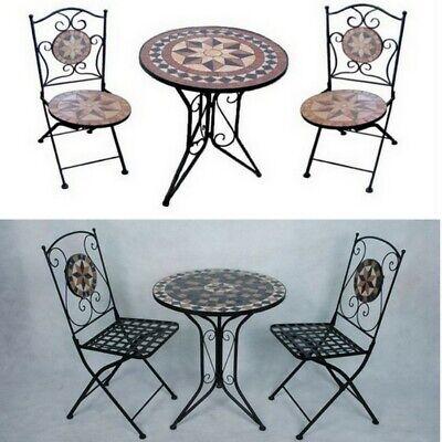 Arredo per esterno tavolino con mosaico 2 sedie in ferro ...