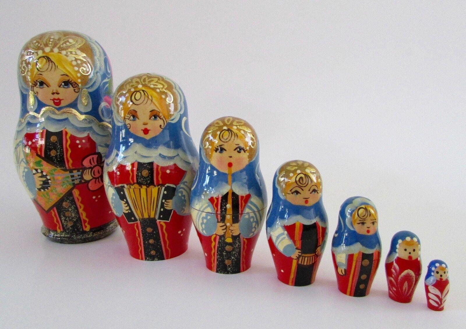 Russian  Matryoshka Musical Nesting bambolas Set Of 7  spedizione veloce a te