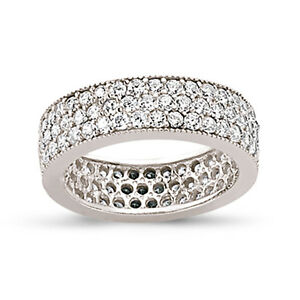 Image Is Loading Sterling Silver Cz Full Eternity Ring Las Cubic