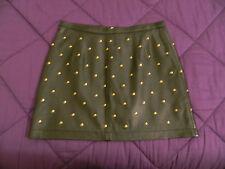 Minigonna pelle borchie nera TOPSHOP leather studded mini skirt UK12 EU40 IT44