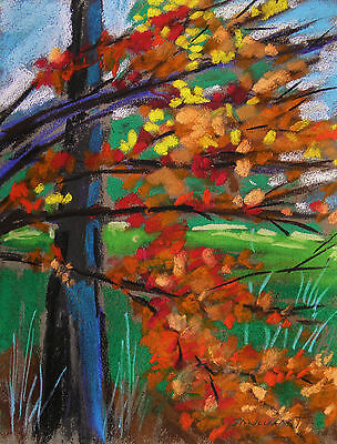 ORIGINAL FALL  Landscape Pastel Painting JMW art John Williams Expressionism