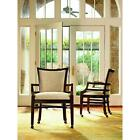 Pair of 2 Latitude Coffee Bean Cream Dining Arm Chairs with Casters 2