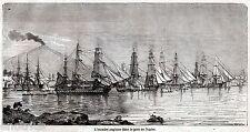 NAPOLI: Squadra Navale Inglese nel Porto. Vesuvio. Stampa Antica. 1861