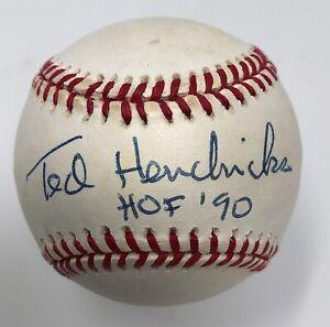Ted Hendricks Signed Baseball Baltimore Colts NFL HOF Autograph JSA